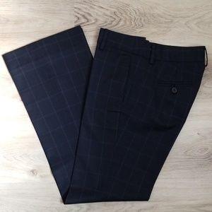 J.Crew Wool Low Fit Dress Pants Navy Check Print